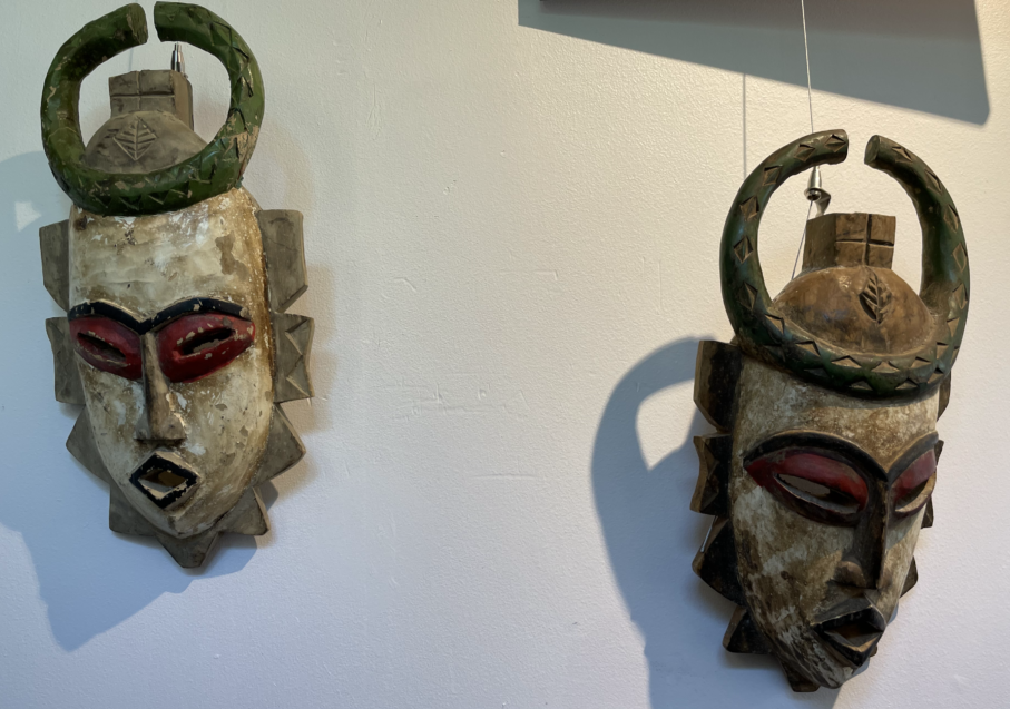 Green and White, His & Her Masks from Ghana (Set of 2)
